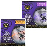 Jack O Lantern Scary Spooky Creepy Halloween Party Indoor Outdoor Decoration Decorations Decor Haunted House Battery-Operated Halloween LED Light Strings, 5 ft. BUNDLE OF 2 (Scary Homemade Indoor Halloween Decorations)
