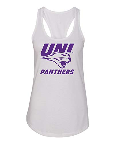 CornBorn Northern Iowa Panthers Tank Top - Women's Racerback UNI Panthers Logo on White - White - Medium