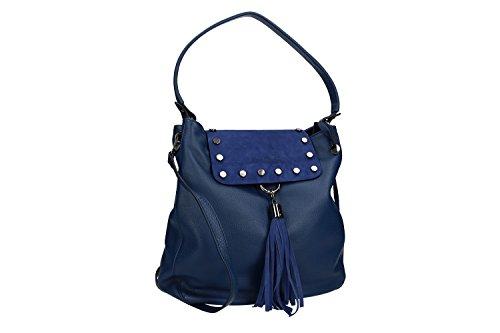 Borsa donna a spalla tracolla PIERRE CARDIN blu pelle Made in Italy VN1047