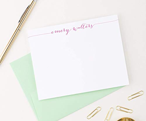 Calligraphy Personalized Stationery Set, Personalized Note cards, Your Choice of Colors, Set of 10 flat note cards and envelopes by Modern Pink Paper