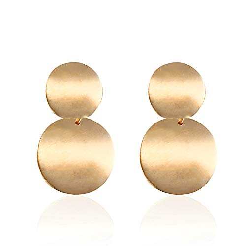 Punk Style Silver Gold Double Round Drop Earrings For Women Trendy Circle Unique Statement Boho ()