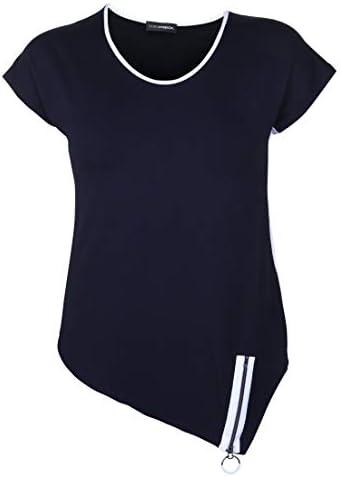 Doris Streich damska koszulka z suwakiem na brzegu, dekoracyjny zamek błyskawiczny: Odzież