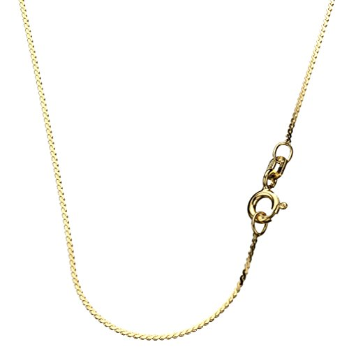 18k Gold-Flashed Sterling Silver Serpentine Nickel Free Chain Necklace Italy, 18