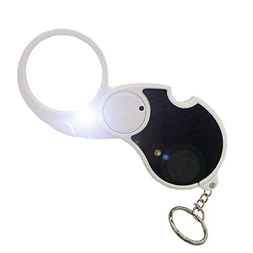 5X Pocket Magnifying Glass Handheld With Light, Small Illuminated Folding Hand Held Lighted Magnifier For Reading, Jewelers,Inspection, Jewelry, Coins, Hobby, Travel - 45 Mm Diameter Flip Open Lens