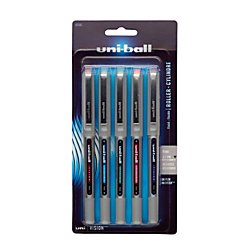 uni-ball Vision Rollerball Pens, Fine Point (0.7mm), Fashion Colors, 5 Count