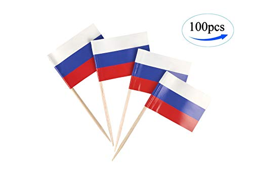 JBCD Russia Flag Russian Flags,100 Pcs Cupcake Toppers Flag, Country Toothpick Flag,Small Mini Stick Flags Picks Party Decoration Celebration Cocktail Food Bar Cake Flags