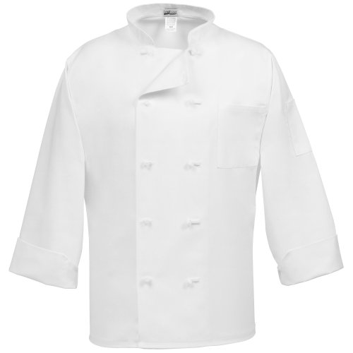 Fame Adult's Chef Coat - French buttons-White-Medium - French Knot Chef Coat