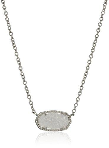 Kendra Scott Signature Elisa Rhodium plated Iridescent Drusy Pendant Necklace