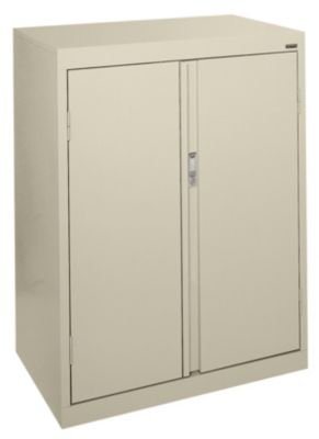 UPC 017567017662, Sandusky Lee HF2F301842-07 System Series Counter Height Double Door Storage Cabinet with Fixed Shelves, Putty