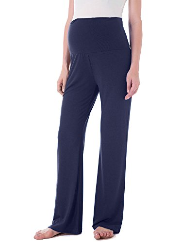 Jinson Women's Maternity Wide/Straight Versatile Comfy Palazzo Lounge Pants Stretch Pregnancy Trousers Navy XL