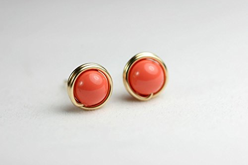Gold Coral Stud Earrings Orange Coral Swarovski Pearls Wire Wrapped Yellow or Rose Gold Filled ()
