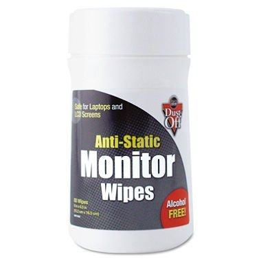 Dust-Off Premoistened Monitor Cleaning Wipes, Cloth, 6 x 6 1/2, 80/Tub