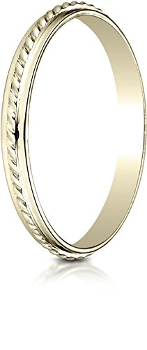Benchmark 14K Yellow Gold 2mm High Polished Rope Center Design Wedding Band Ring, Size 7