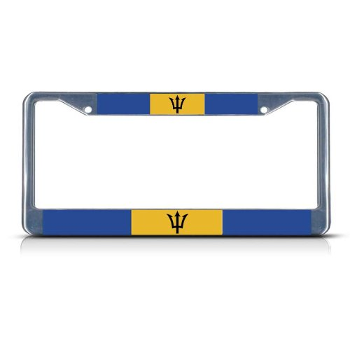 PROUD AMERICAN BARBADIAN FLAGS Metal License Plate Frame Auto SUV Tag Holder