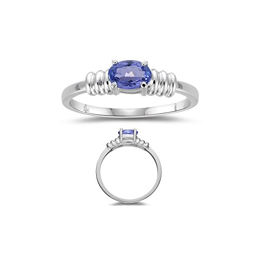 0.42 Cts of 6x4 mm AA Oval Tanzanite Solitaire Ring in 14K White Gold-6.0 ()