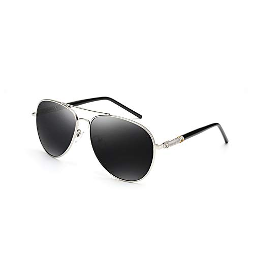 Glasses Hombres Personality Ash Gafas Face Ash Driving Color Black Silver Conducción de Long polarizado Conductor de Black Sunglasses Silver New los Sol Tide Eye wRXaaZOq