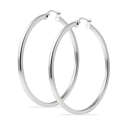 - Sterling Silver 45mm Square Tube High Polished Hoop Earrings