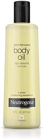 Neutrogena Lightweight Body Oil for Dry Skin, Sheer Moisturizer in Light Sesame Formula, 16 fl. oz