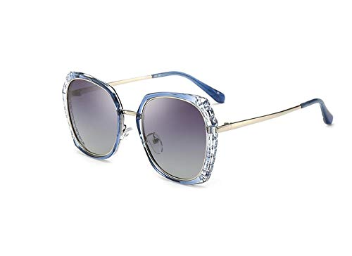 HongTeng Sunglasses Female UV Protection Polarized Driving Travel Essential Sunscreen Glasses Multicolor Optional (Color : Blue Frame Double Gray Piece)