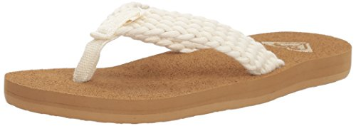 Roxy Girls' RG Porto Sandal Flip-Flop, Cream, 1 M US Little (Roxy Cream)