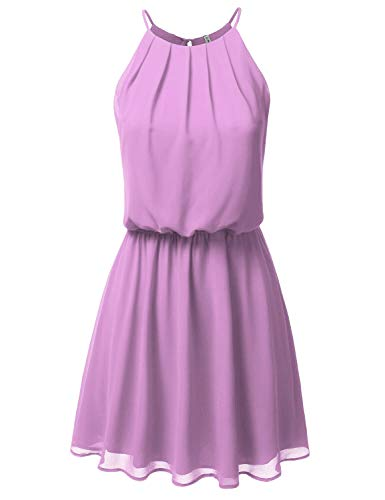 (JJ Perfection Women's Sleeveless Double-Layered Pleated Mini Chiffon Dress Lilac XL)