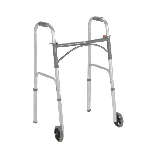(Drive Medical 10244-1 Two Button Folding Steel Walker, Grey)