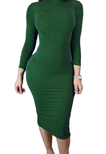Neck Long Elegant Dress Green Sleeve High Comfy Women Dresses Evening xIP1HH
