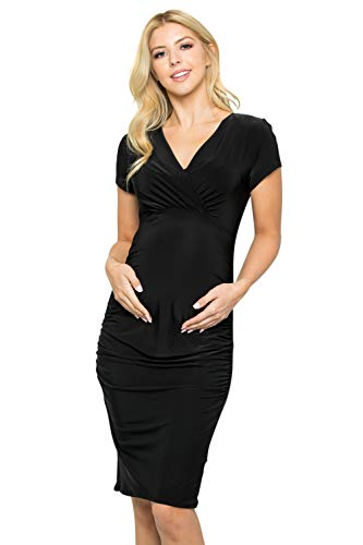 - My Bump Women's Cap Sleeve Fitted Maternity Wrap Dress(Made in USA)(Black, Medium)