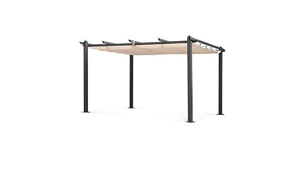 Alices Garden - Pérgola de Aluminio (3 x 4 m, Lona Beige, Ideal para tu terraza, Techo retráctil, Tela Deslizante, Estructura de Aluminio): Amazon.es: Jardín