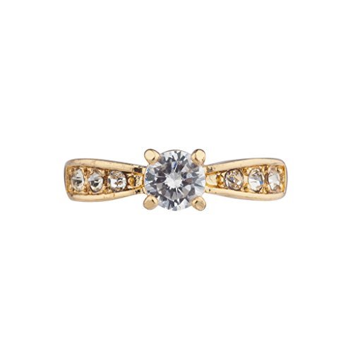 Cut Ladies Diamond Engagment Ring (Lux Accessories IG Goldtone CZ Single Prong Solitaire Engagment Ring Size 6)