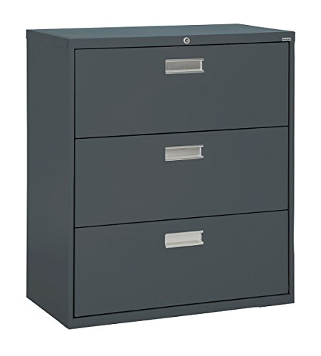 Sandusky Lee LF6A423-02 600 Series 3 Drawer Lateral File Cabinet, 19.25 Depth x 40.875 Height x 42 Width, Charcoal
