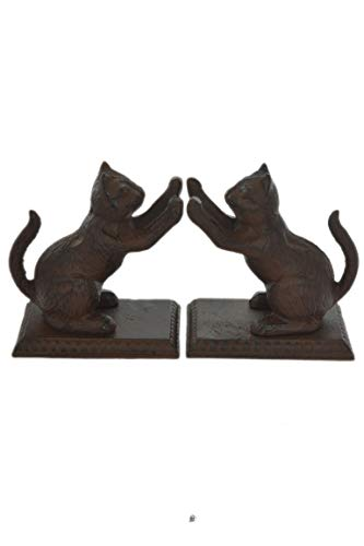 American Chateau Set 2 Heavy Cast Iron Brown Pair Playful Kitty Cat On Base Book End Bookends