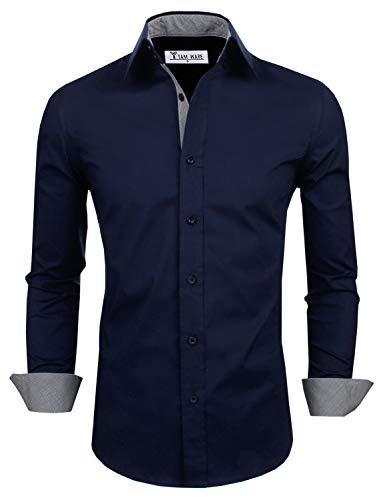 - TAM WARE Mens Classic Slim Fit Contrast Inner Long Sleeve Dress Shirts TWNMS314-1-317-NAVY-US XXXL