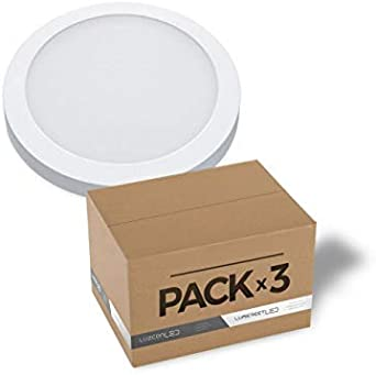 Pack de 3 plafones de superficie LED Circular 30CM 24W 4000K: Amazon.es: Iluminación