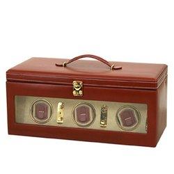 Luxus Uhrenbeweger -Leder -3-er -braun