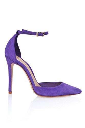 Schutz Heel Ankle Suede Pumps Purple Strap pointed Toe High Women's Fae ZwPqZr