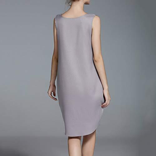 Hot!Woman's V-Neck Solid Color Vacation Dress Ninasill Sleeveless Cotton and Linen Dress Casual Elegant Short Skirt Gray by Ninasill Dress (Image #2)