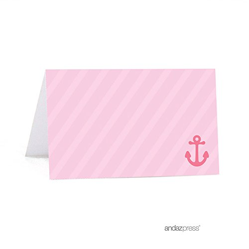 Andaz Press Pink Girl Nautical Baby Shower Collection, Table Tent Printable Place Cards, 20-Pack, Sailboat, Ocean, Sea, Anchor Themed Party Decorations, Food Station Dessert Table Cards