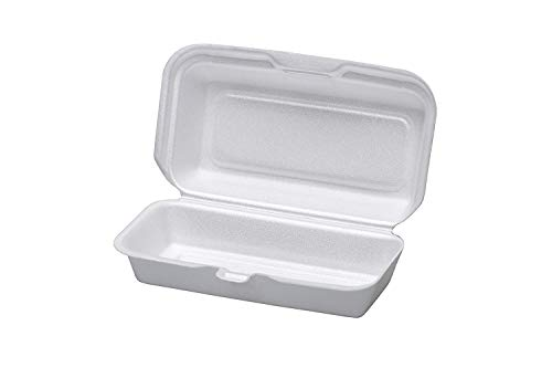 Ecopax 8x8x3 Inch Performer White Foam Container with Removable Hinged Lid, Take-Out Disposable Containers (200) (8x8x3 Hinged Foam Container)