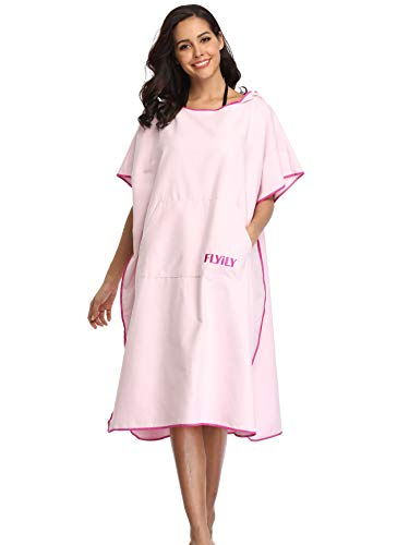 FLYILY Beach Changing Towel Quick-Dry Surf Poncho Robe with Pocket Hooded Wetsuit Adjustable Sleeves Surfing Swimming Bathing(LightPink,L)