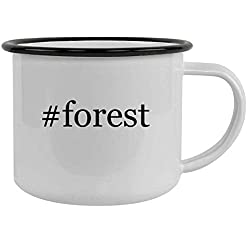 #forest - 12oz Hashtag Stainless Steel Camping Mug, Black