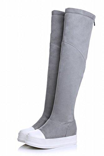 Baret Womens Rits Fashion Eenvoudig Assortiment Kleuren Platform Verborgen Sleehak Hoge Laarzen Grijs