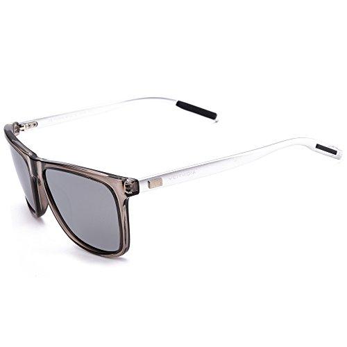 VEITHDIA 6108 Al-Mg Metal Frame Polarized Retro Wayfarer Sunglasses (Transparent Frame/Grey Lens, - Sunglasses Veithdia