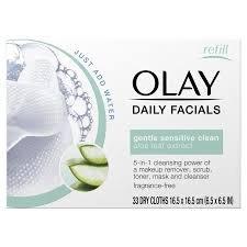 OLAY - Paños secos activados por agua 5 en 1 para limpieza facial