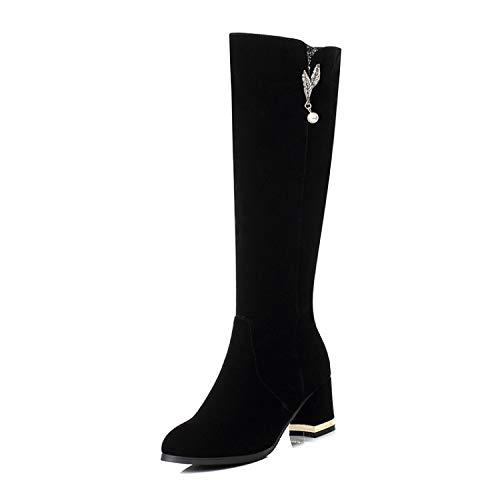 HRCxue Pumps Wildleder Strass Seite hohe Ferse hohe Stiefel Stiefel Stiefel schlank wild schwarz 36