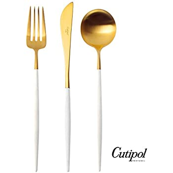 Cutipol Goa White/gold Series Home Dinner Flatware Cutlery Set of 3 Pcs, Spoon, Fork, Knife, Professional Cutlery Brand