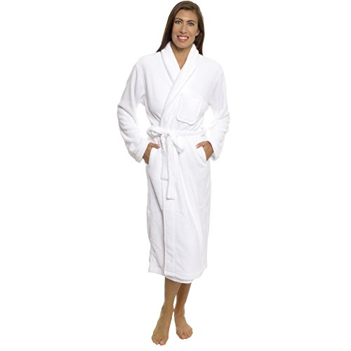 Silver Lilly Women's Robe - Plush Wrap Shawl Collar Kimono Bathrobe (White, S/M)