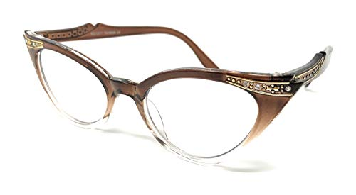 Cateye Women's Eyeglasses or Sunglasses Vintage Inspired Fashion (Brown Fade Frame Clear)...