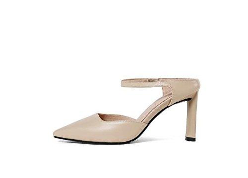 AJUNR Moda/elegante/Transpirable/Sandalias señaló cabezas zapatos de mujer tacones albaricoque de 8 cm de tacon alto Treinta y cinco 39