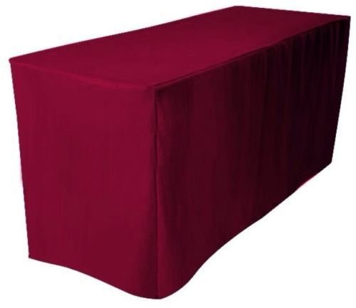 ONLINE WEDDING SUPPLY OWS 6' Feet 6 Foot 6FT Fitted Rectangle Polyester Table Cloth Tresale Table Cover Trade show Booth DJ 6 ft Burgundy - 1 Pc
